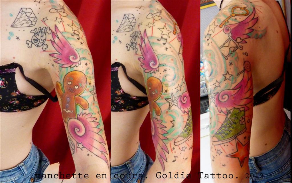 Tattoo manchette old school fruski board - Manchette tatouage femme ...